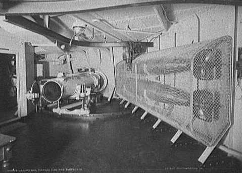 Underwater torpedo tube installed on battleship USS Oregon