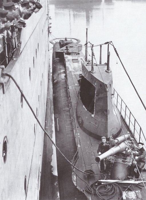 Submarine ORP Wilk with visible external trainable stern torpedo tube under the upper deck