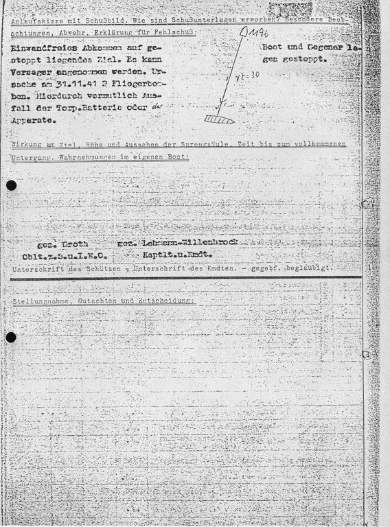The second page of the report (Schussmeldung) from the attack on Cabo de Hornos