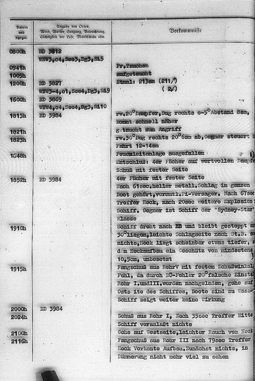 The U 615's War Diary, 23rd October, 1942, the entry describes the attack on the ship Empire Star