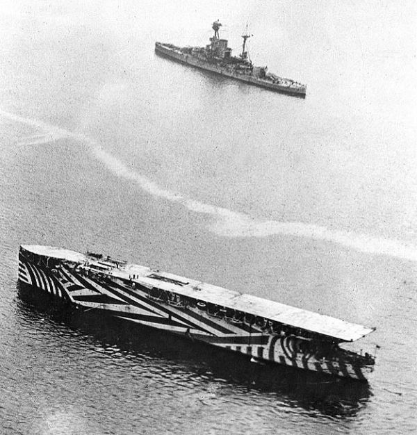 Aircraft carrier HMS Argus painted with dazzle camouflage
