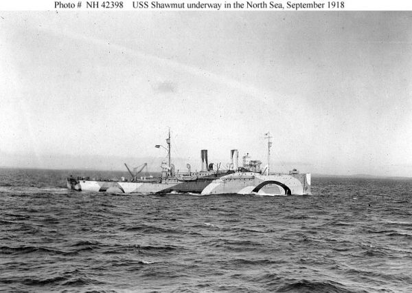 Minelayer USS Shawmut painted with dazzle camouflage