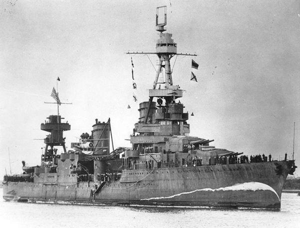 Heavy cruiser USS Northampton with false bow wave