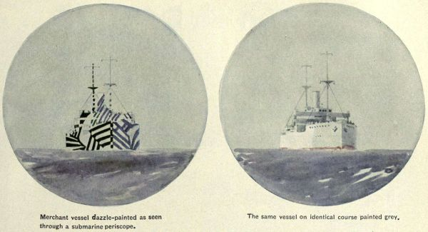 Artist's conception of periscope view of a merchant ship in dazzle camouflage (left) and the same ship uncamouflaged (right)