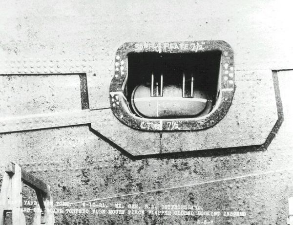 The muzzle door of forward, starboard torpedo tube on battleship SMS Ostfriesland