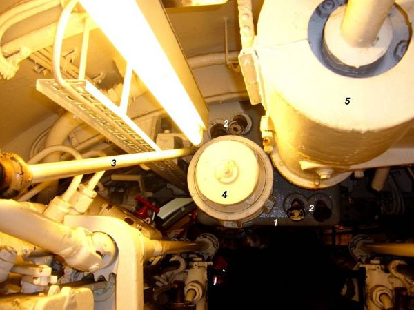 Back view of the gyro angle receiver in U 995's forward torpedo room