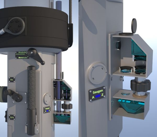 The ocular box of the night periscope with the optical system for transmitting bearing visible