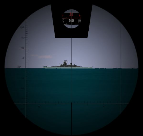 The visualization of the view through the attack periscope (the bearing scale and the scale of the deflection angle ring are visible)