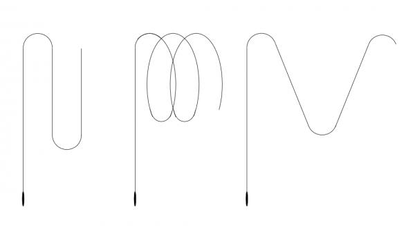 Loop (Schleifenläufer), sipral (Spiralenläufer) and zigzag (Sägenläufer) torpedo run